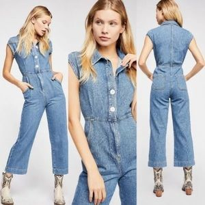 FREE PEOPLE Unchained Melody Denim Jumpsuit